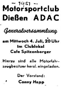 Gründung des Motorsport-Club Dießen e.V. im ADAC
