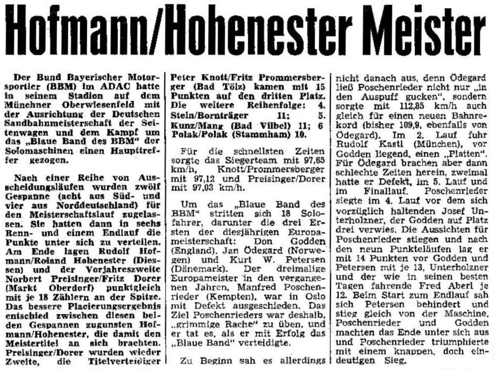 Deutscher Meister in der Klasse Sandbahn-Seitenwagen-Gespanne